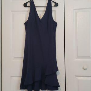 Blue V-neck front asymmetrical frill 2x dress